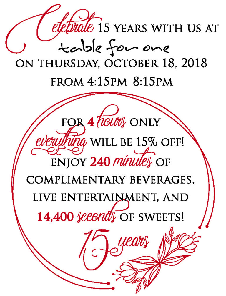 Celebrate our 15 year anniversary - October 18