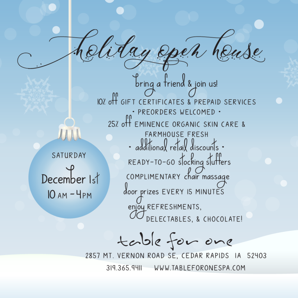 Join us Saturday Dec 1 for our Holiday Open House!